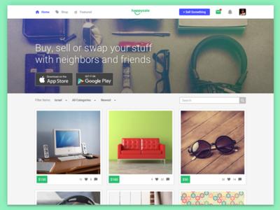 WIP - HappySale's main webpage classifieds material design web happysale