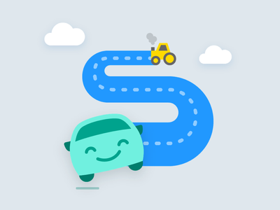Part one of an onboarding flow illustration logo icon traffic app android car smile happy illustration onboarding