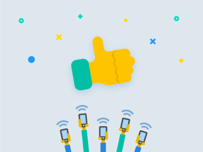 Part three of an onboarding flow illustration thumb up traffic onboarding material design illustration flat custom app android icon