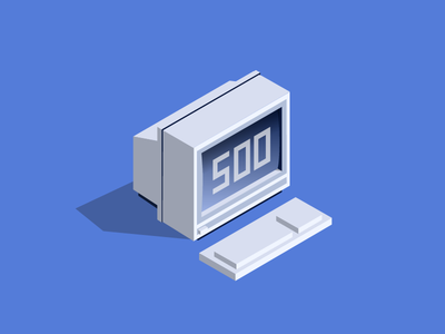 Illustration for an Error 500 page computer isometric illustration webpage error 500