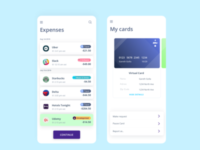 Expense and Credit Card screen design