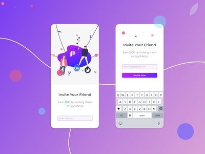 Invite a Friend screen design