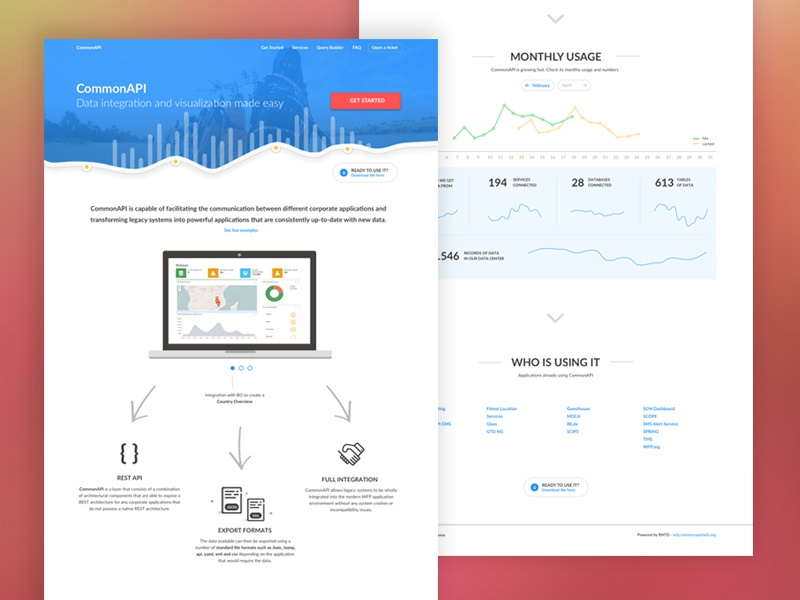 UN WFP CommonAPI Landing Page branding design user experience ux ui illustration bar charts line chart line dash board analytics api chart clean white simple one page landing page