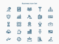 Blue Business Icon Set