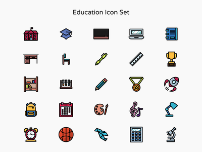 Education Icon Set Color