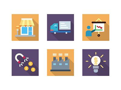 Square + Long Shadow shop icon marketing icon icon set iconography icon