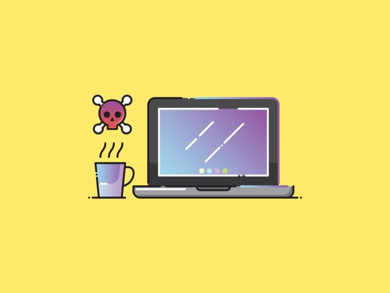 Enjoy The Weekend :) macbook icon laptop icon gradient coffee icon modern icon flat icon illustration iconography icon