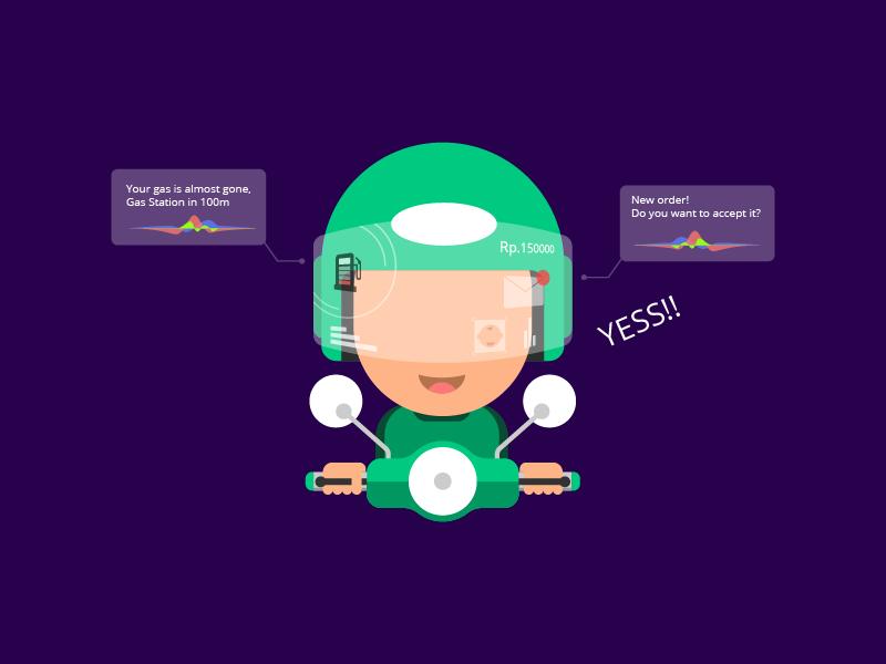 Online Transportation online transportation voice command tech helmet grab gojek motorcycle user interface ui illustration