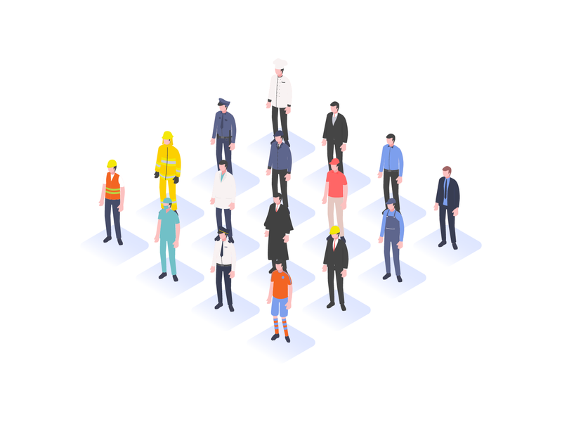 Isometric People proffesional assets design character banner labor modern illustration vector animation people profession vector icon