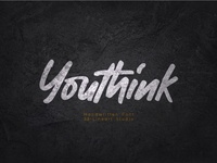 Youthink : Hand-drawn font brush lettering logo fashion branding cursive font fonts logotype typography brand identity font design