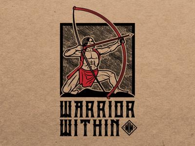 Warrior Within Logo warriors bow and arrow warrior design illustration engraving vintage logo