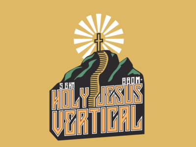 Holy Jesus Vertical Race badge running holy jesus mountains design illustration trail taiwan logo