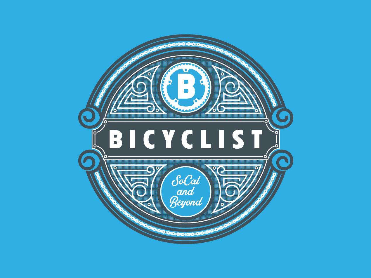 Bicyclist Badge typography illustration design vintage badge logo monogram b bicycle bicyclist