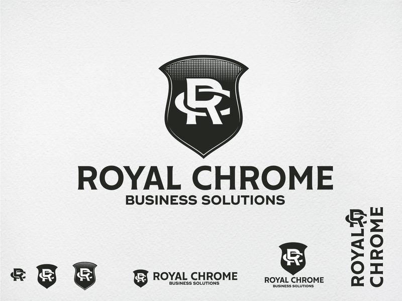 Royal Chrome Logo illustration design engraving chrome royal shield shield logo emblem badge vintage logo