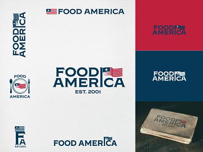 Food America monogram branding mock up linocut american flag flag american logo logo food america