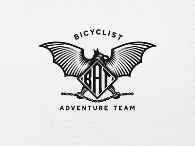 Bat (Bicyclist Adventure Team) Logo illustration branding vector badge logo 3d design bat logo animal logo engraving vintage scratchboard bat logo