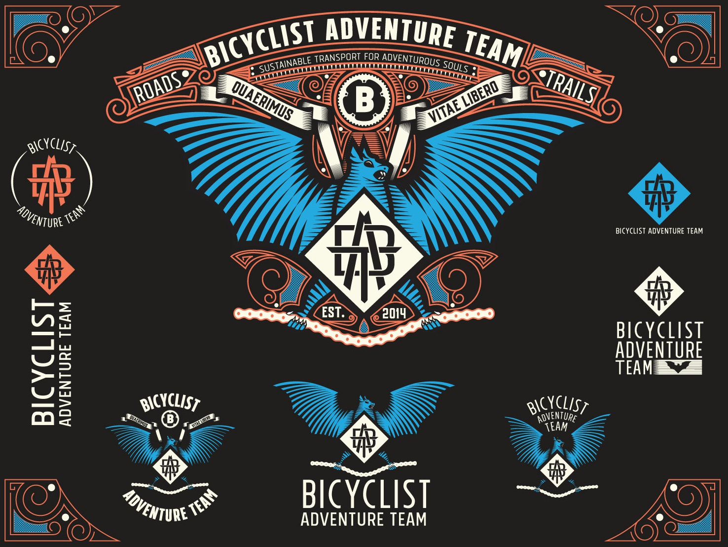 BAT: Bicyclist Adventure Team logo vector illustration engraving badge batch monogram victorian vintage bat logo layouts logos bicycle branding bat