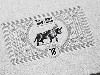 Potential Business Cards for T&H cards businesscard emblem vintage art victorian letterpress ornaments filigree branding hare toro rabbit bull illustration design engraving badge vintage logo