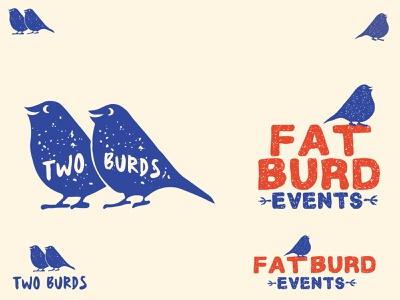 Two Burds/Fat Burd logo design letterpress texture vintage bird illustration illustration branding design branding logos logo bird