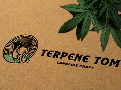 Terpene Tom: Cannabis Craft face logo cannabis logo cannabis branding cannabis vector logos emblem branding engraving design illustration badge vintage logo