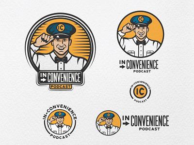 Logo for Inconvenience Podcast attendant gas station gas podcast artwork podcast branding design branding brand design faces facelogo illustration badge vintage logo