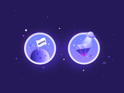 Planet exploration diamond button design