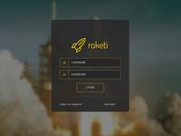 Login Screen for Roketi - Cluster Hosting Management