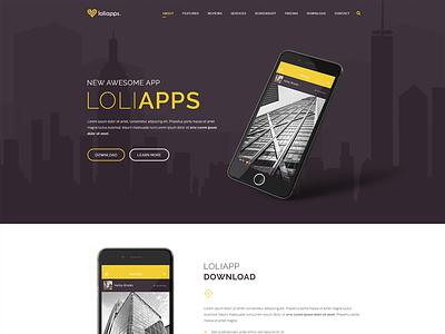 LoliApps - Landing page Theme professional phone modern minimal light launch landing page ios dark clean app showcase app