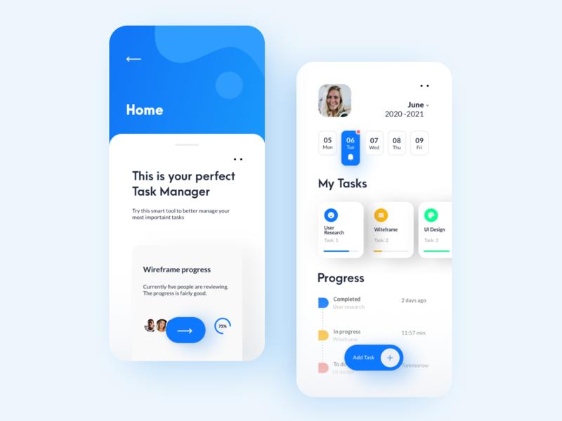 Task Manager interface uiux app concept task manager mobile app vector flat design ui app design mobile