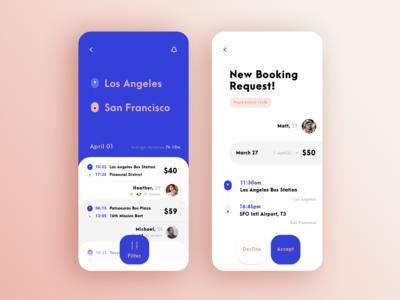 Rideshare App ux iphonexs interaction ui gui interface design clean app design app concept app