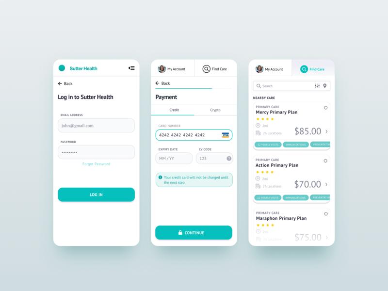 Health Insurance App mobie mobile app health and fitness health app gui ux ui design crypto branding blockchain app redesign app app prototype app concept app design