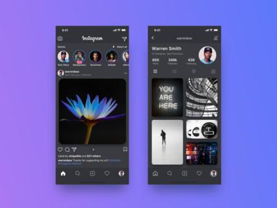 Instagram Dark Mode Concept followers follow me mobile app ui  ux design ui redesign concept redesign dark app dark social app instagram application app concept