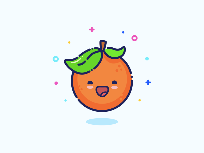 Orange smile logo mascot illustration design icon green orange sticker outline minimal cute character vector design graphic design illustration
