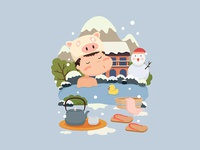 Snowy day spa