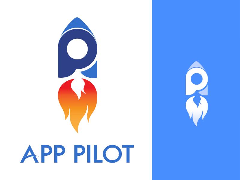 App Pilot Logo Design typography icon illustration vector first shot dribbble symbol simple apppilot logotype logo letters identity font flat branding