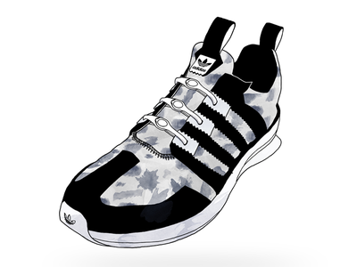 Adidas® SL Loop - Watercolor Sneaker adidas sl loop shoe illustration line sneaker laces watercolor texture hickies