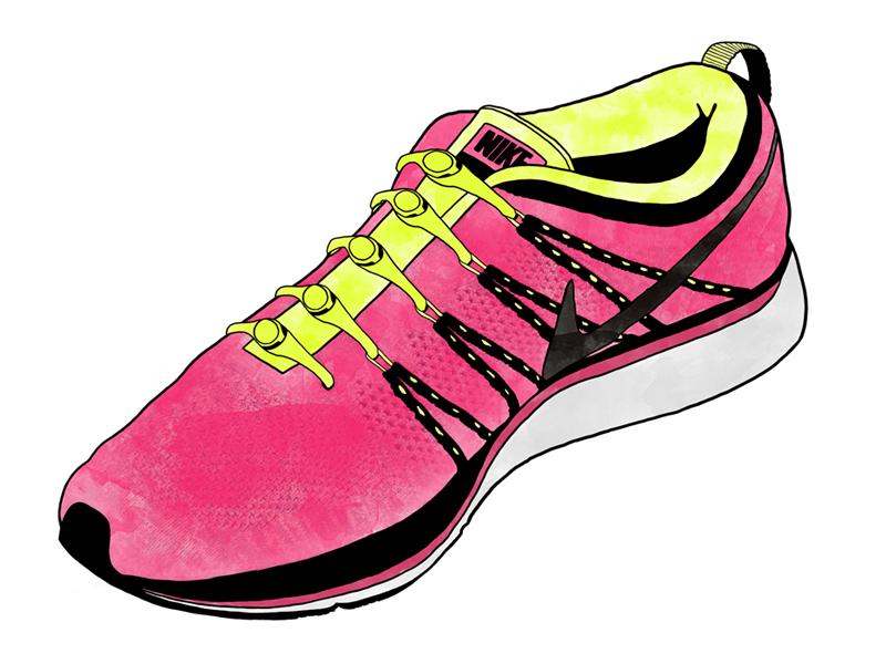 Nike Flyknit Lunar - Watercolor Sneaker nike flyknit lunar flyknit lunar shoe illustration line sneaker laces watercolor texture hickies