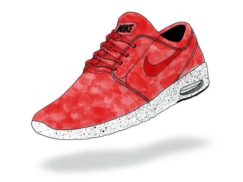 Nike Janoski Max - Watercolor Sneaker illustration watercolor shoe sneaker texture hickies line laces nike janoski max