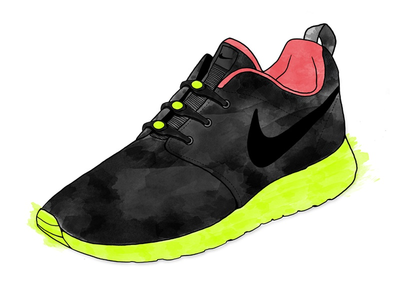 aa7aa5f229a Nike Roshe Run (Yeezy 2 Inspired) - Watercolor Sneaker illustration  watercolor sneaker texture hickies