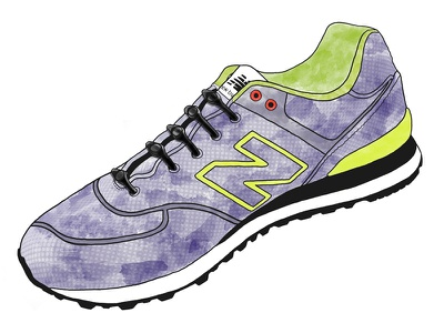 New Balance 574 - Watercolor Sneaker illustration watercolor shoe sneaker texture hickies line laces new balance