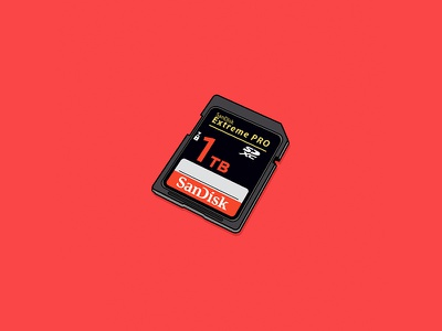 SD Card sandisk sd card storage card sd vector drawing illustration