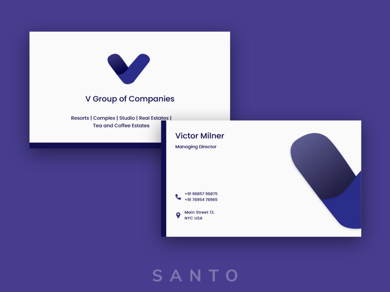 V Group of Companies Business Card graphicdesign business card design busniess modern company logo group realestate logo businesscard branding