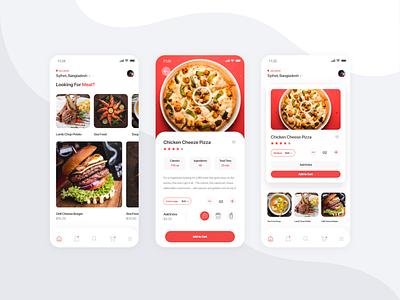 Food App food delivery app foodie flat ux ui clean minimal design modern 2d