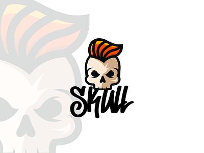 Skull Logo fashion band rock on skull illustration modern vector clean design minimal simple logo branding 2d