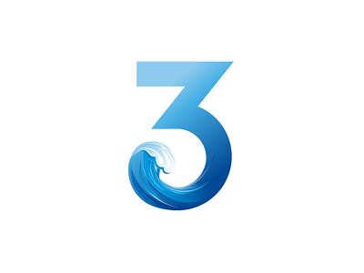 Water wave blue logo alphabet 3 three wave ocean logo