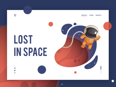 Lost In Space mission mars front page concept modern unique 2d lost in space astronauts mars galaxy space moon clean user interface design cover design landing page illustration