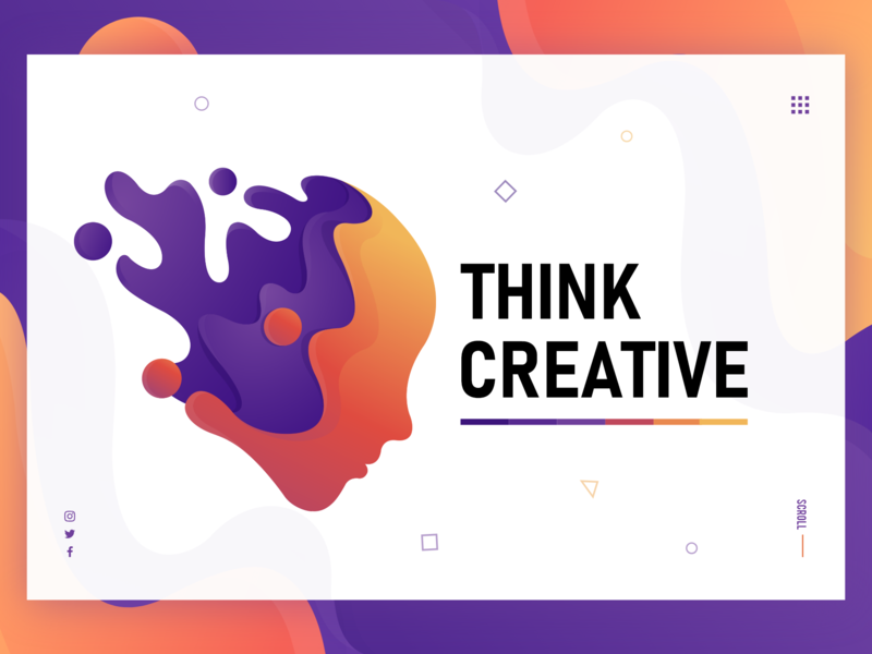 Think Creative branding icon vector web design landing page ui  ux art modern yellow orange purple think creative creative logo mascot cover artwork cover design illustration