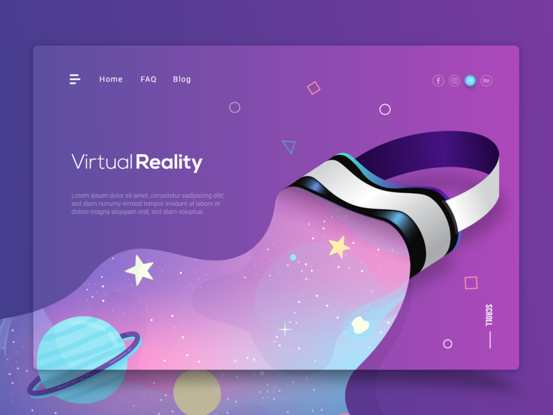 Virtual Reality ux ui minimalist clean abstract art branding flat illustration modern 2d vr virtual reality web desgin ui  ux website concept