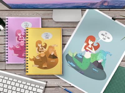 Mermaids and toys adult toys monocular mermaid graphic design illustration