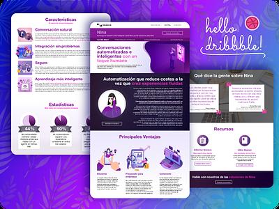 Nuance Nina Landing Page digitalsolutions nina pink violet debuts debutshot illustration graphic  design web ux  ui
